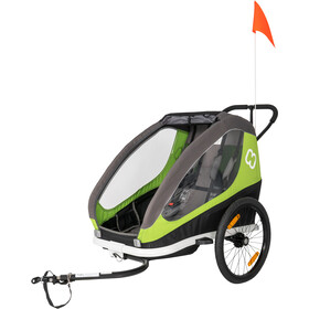 Hamax Traveller Remolques incl. Barra para Bicicleta & Rueda Buggy, green/grey